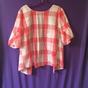 Red & White down button Shirt